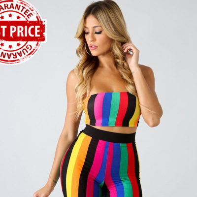 Rainbow Striped Sexy Crop Top With Shorts