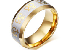 Lesbian Pride Symbol Gold Plated Engagement Ring