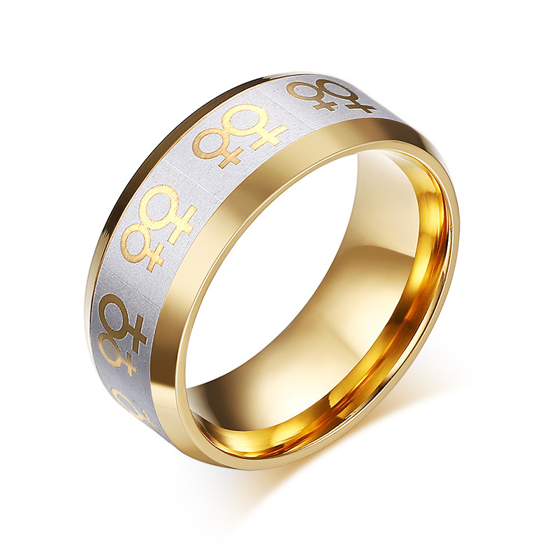 Gold Plated Wedding Rings: Lesbian Pride Symbol Gold Plated Engagement Ring